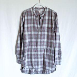 GAP Plaid Flannel Half Button Tunic